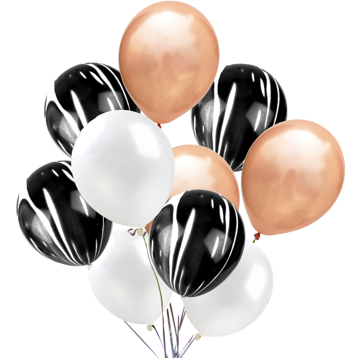 "Silver /& Rose Gold Balloons Round Balloons 10/"" Gold"