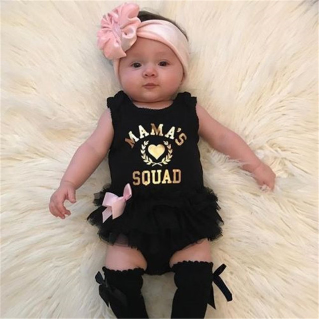 e881b0272c47 Sleeveless Newborn Baby Girls Clothes MAMA s Black Lace Floral Rompers Cute  Princess Jumpsuit Clothes Outfits 0-18M