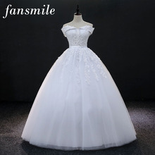 Fansmile Bridal Vintage Lace Up Ball Wedding Dresses 2017 Plus Size Vestido-Noiva Robe Mariage Wedding Gowns Free Shipping