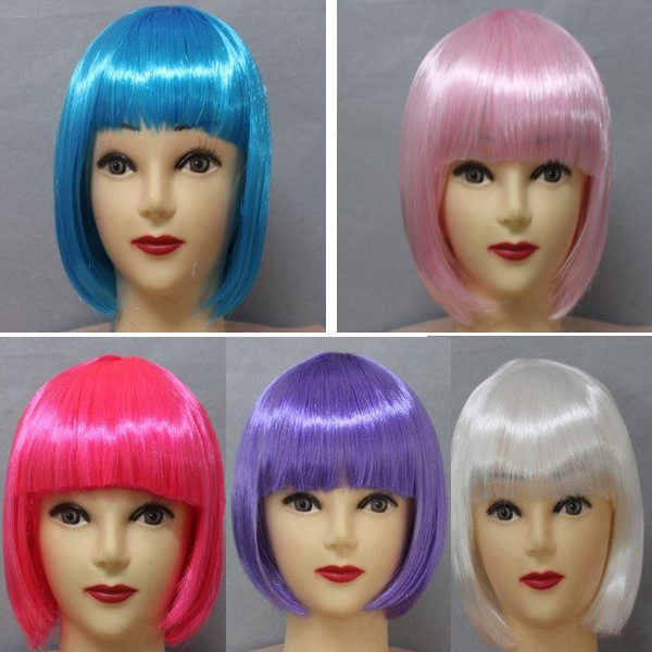 10pcs/lot New Fashion Bob Style Colorful Festival Party Wigs Dress Fake Synthetic Hair Cosplay Wig Student Hair 11 color
