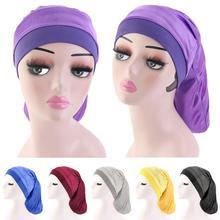 Frauen Breite Elastische Band Satin Bonnet Turban Braid Baggy Cap Haar Pflege Chemo Hut Muslimischen Motorhaube Islamischen Mützen Skullies Mode