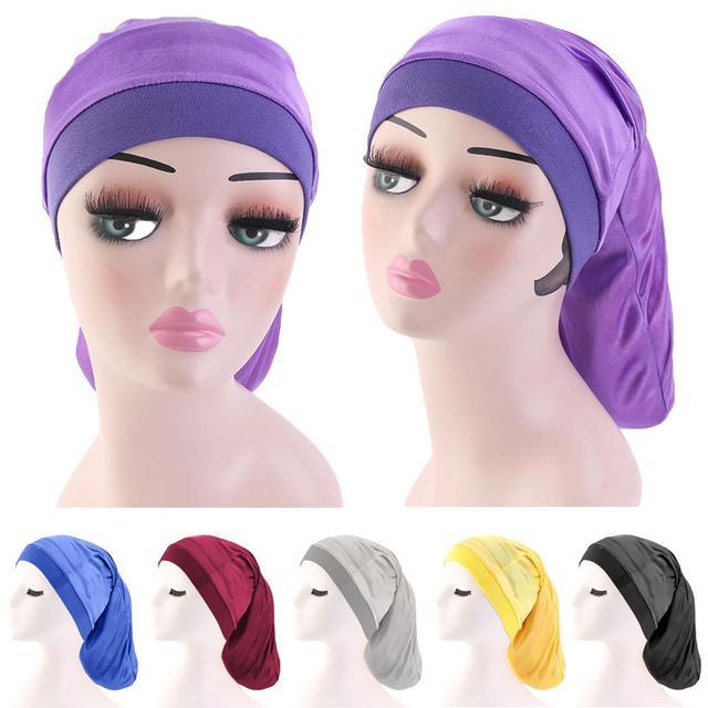 여성 와이드 탄성 밴드 새틴 보닛 터번 브레이드 헐렁한 모자 헤어 케어 케모 모자 이슬람 보닛 이슬람 beanies skullies 패션