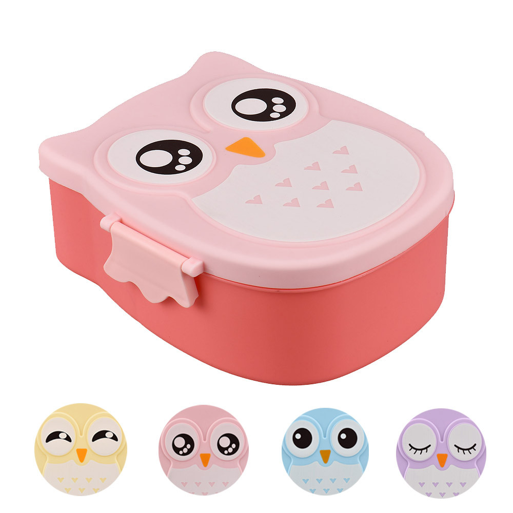1 pc Cartoon Owl Lunch Box Safe Food Container Fruit Storage Box Portable Bento Box Camping Picnic Hot Lunch Container Kids Gift