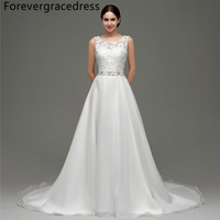 Forevergracedress Elegant Long Wedding Dress A Line Crystal Beaded Lace Sleeveless Backless Bridal Gown Plus Size
