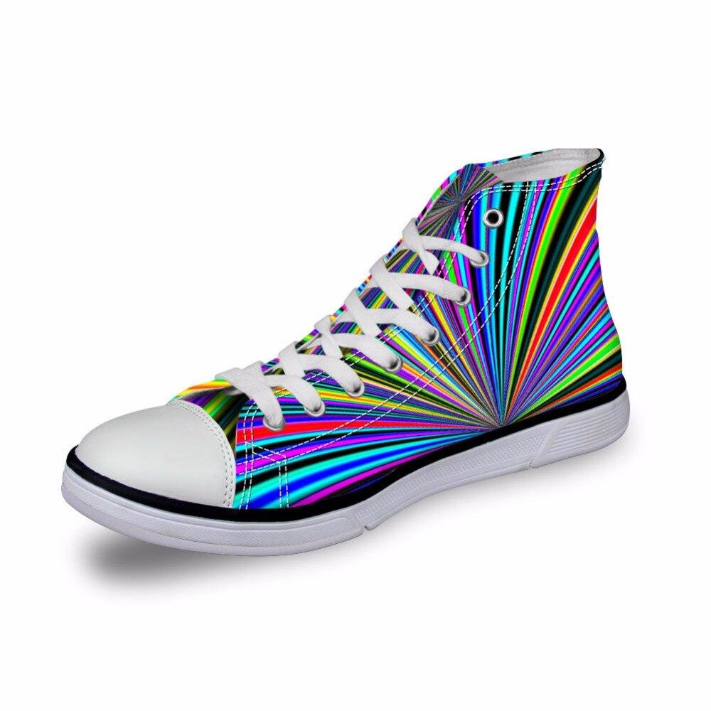 Noisydesigns High top canvas women sneakers vintage vulcanized flat shoes ladies rainbow laser light 3D print girls footwear