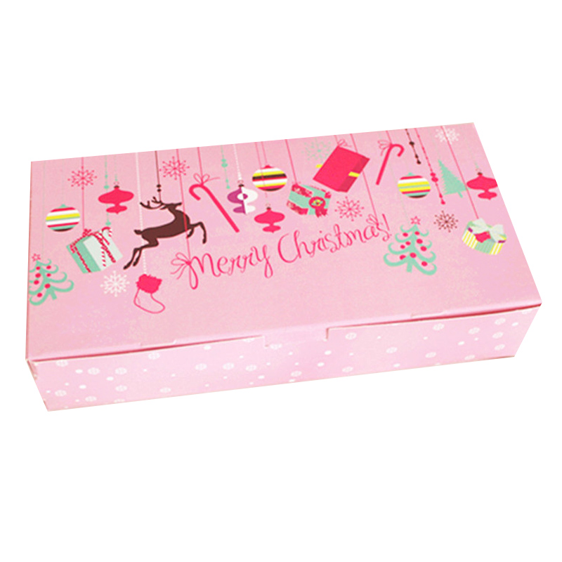 Wedding Gifts For Children: 1Pcs 24cm*12cm Pink Cookie Package Merry Christmas Decor
