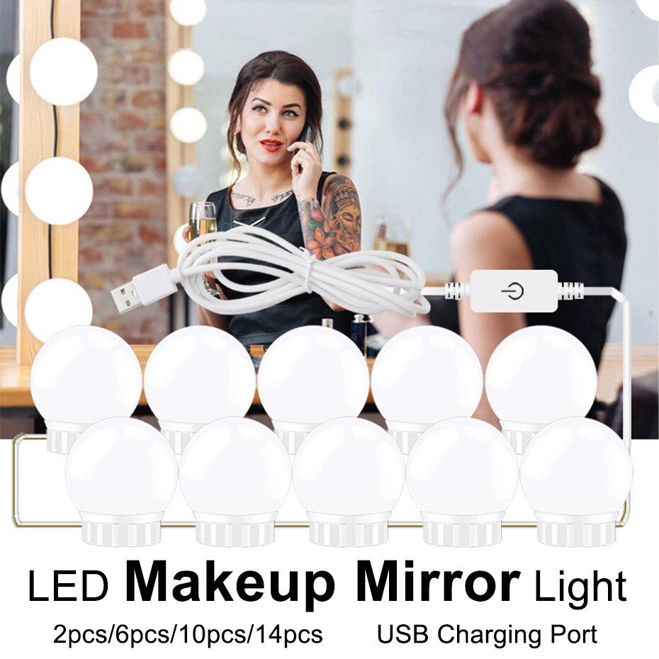 USB 5V LED Makeup Mirror Light Bulb 2 6 10 14 Bulbs Kit Touch Dimmable For Dressing Table Hollywood Vanity Light Mirror Bulbs