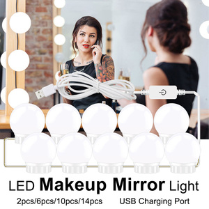 Image 1 - USB 5V LED Makeup Mirror Light Bulb 2 6 10 14 Bulbs Kit Touch Dimmable For Dressing Table Hollywood Vanity Light Mirror Bulbs