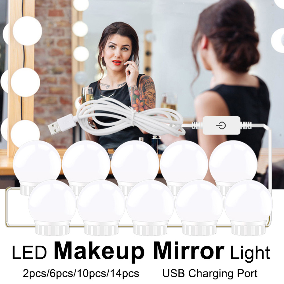 USB 5V Makeup Lamp Wall Mirror Light 2 6 10 14 Bulbs Kit For Makeup Dressing Table Touch Dimmable Hollywood Vanity Mirror Light