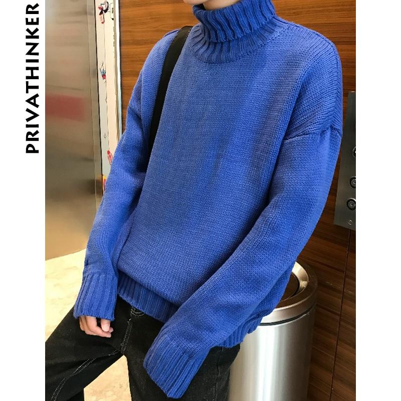 Privathinker Men Turtleneck Sweater 2018 Mens Winter Designer Pullover  Sweater Male Black Loose Solid Harajuku Clothing Colorful ae780242e
