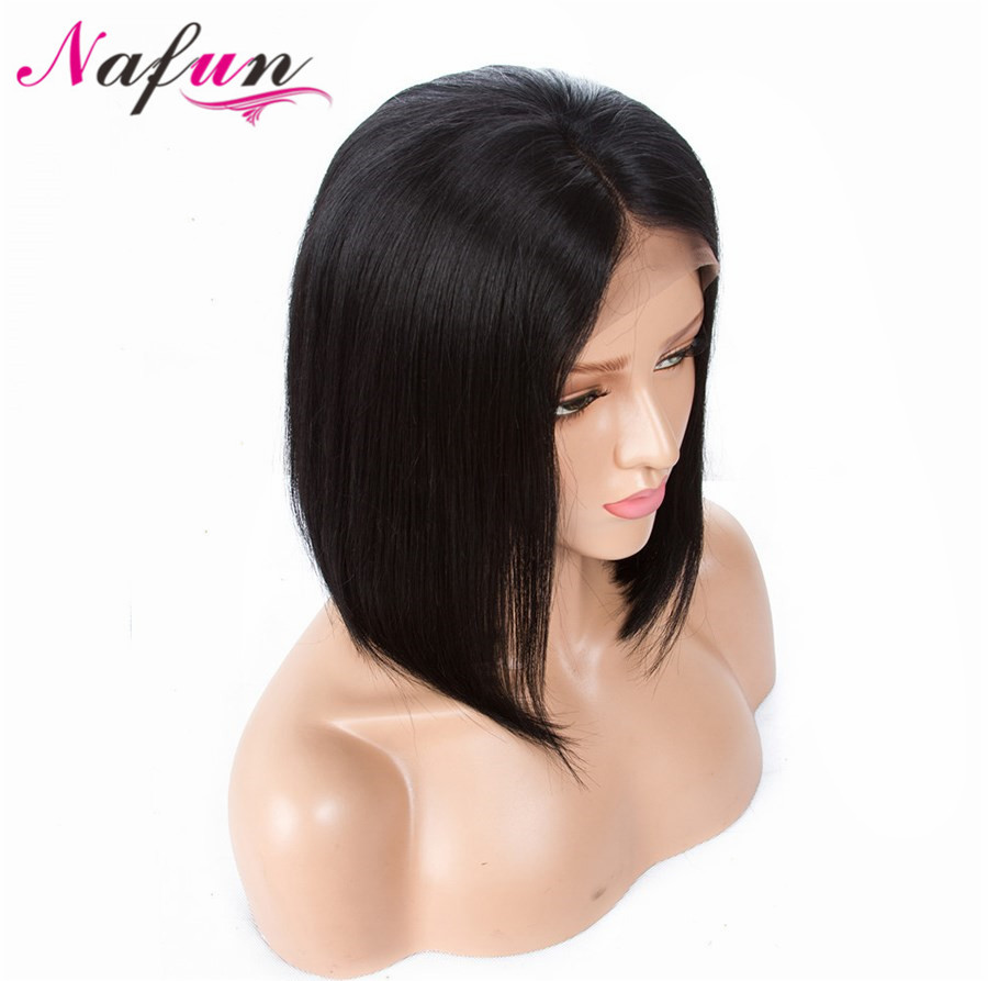 NAFUN Hair Lace Front Human Hair Wigs Short Bob Wigs Straight Natural Color Malaysia Remy Human Hair Wigs For Women