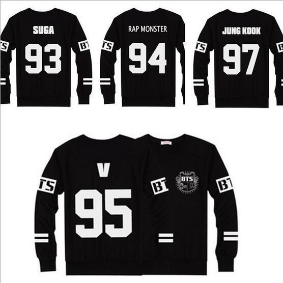 Nueva BTS Camisetas Jersey de Béisbol Negro T Shirt Hombres Mujeres Casual Tops Manga Larga Camisetas Ropa Ropa de Mujer