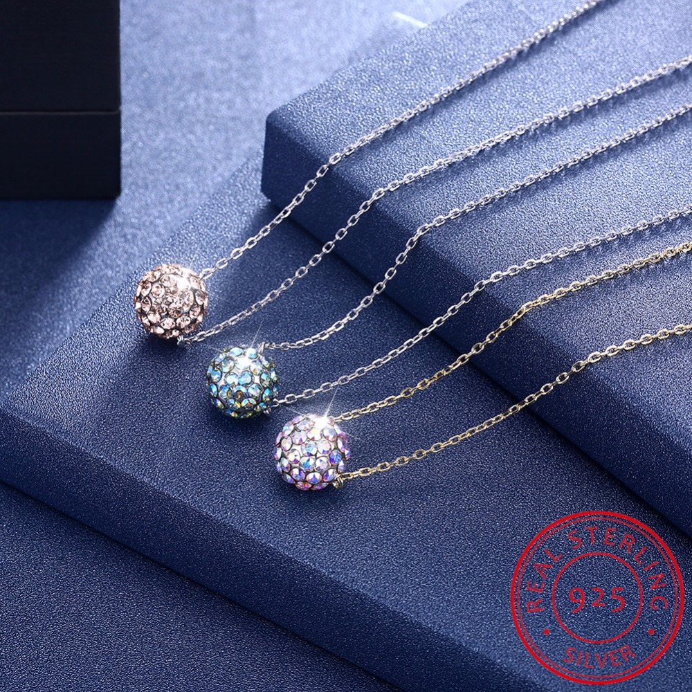 Pure 925 Sterling Silver Necklace Female Luxury Crystal Ball Pendant Necklace Women Silver Chain Elegant Jewelry collares choker luxury 925 sterling silver rhinestone torques for women big crystal pendant necklace silver plated banquet costume necklace