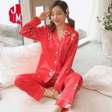 Pyjamas Women Satin Set Summer Pijamas Solid Silk Pajamas Long Sleeves Sleep Plus Size Homewear XXL