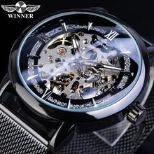 Winner Men's Automatic Watches Black Skeleton Mechanical Watch Male Self-Wind Mesh Steel Band Relojes Montre Homme 2019 Dropship цена 2017