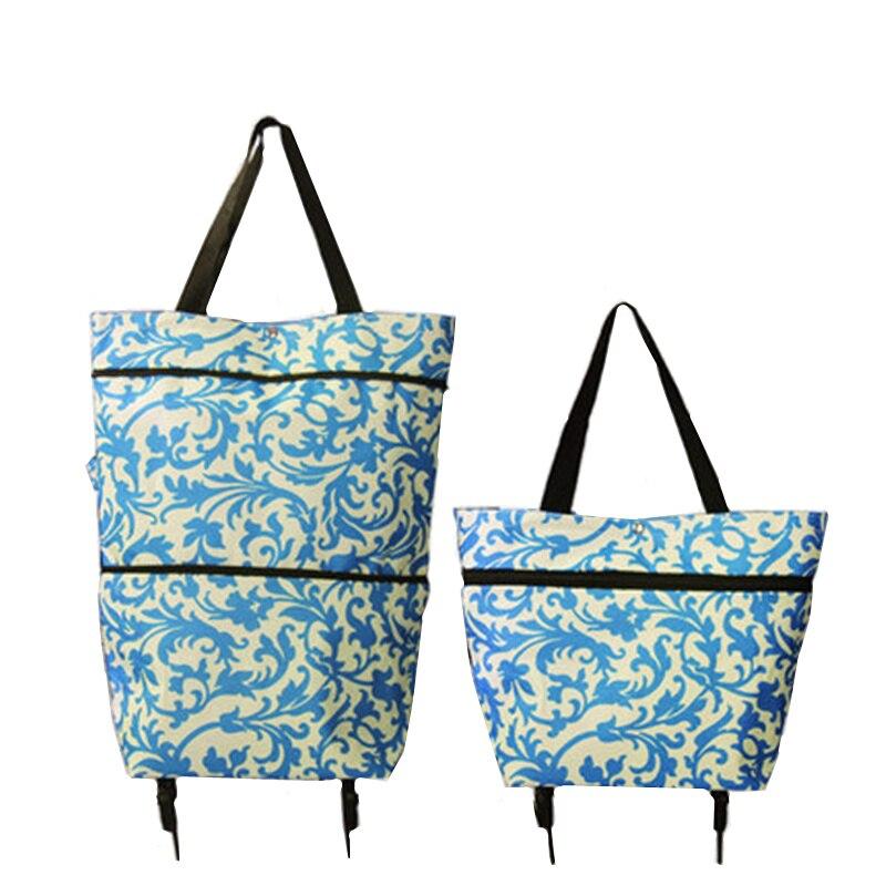 XYLOBHDG  Folding Portable Shopping Bags Buy Vegetables Handbag High Capacity Shopping Food Organizer Trolley Bag And Wheels Bag