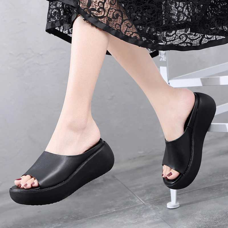 AIYUQI Women slippers sandals 2019 new summer sandals women 100 natural genuine leather platform casual retro female slippers in Slippers from Shoes