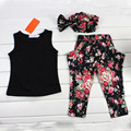Hot Sale Baby Girls Summer Set Black Clothing Set Kids Clothes Suit Sets For Girl Floral Vest Pant Headband 3 Pcs