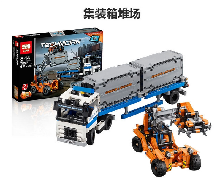 ФОТО 2017 Hot 20035 New 631Pcs Technic Series The Container Trucks and Loaders Set Building Blocks Bricks Educational Toys with 42062