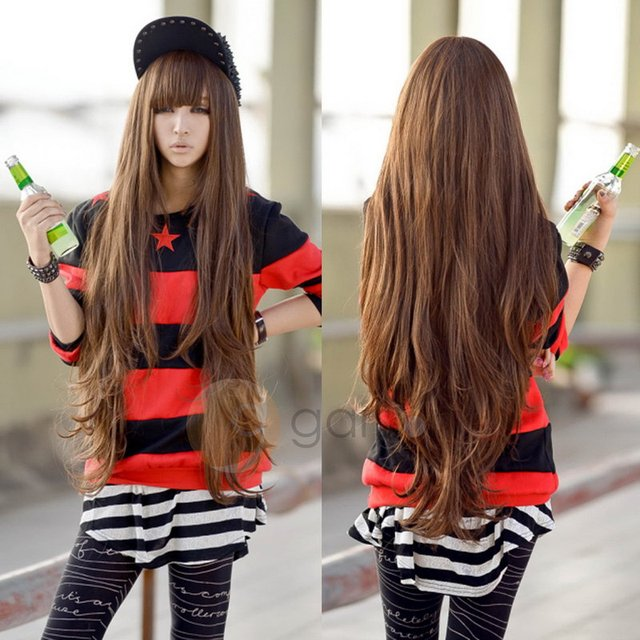 Cheap Wavy Long Brown Wig For Women Heat Resistant Synthetic Fashion Sexy Natural Korea Hair