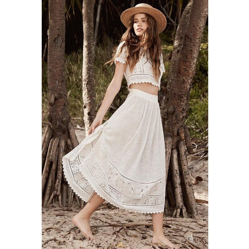 2019 femmes vacances robe deux pièces douce irrégulière robe o-cou évider Sexy longue robe blanche broderie élégante robe