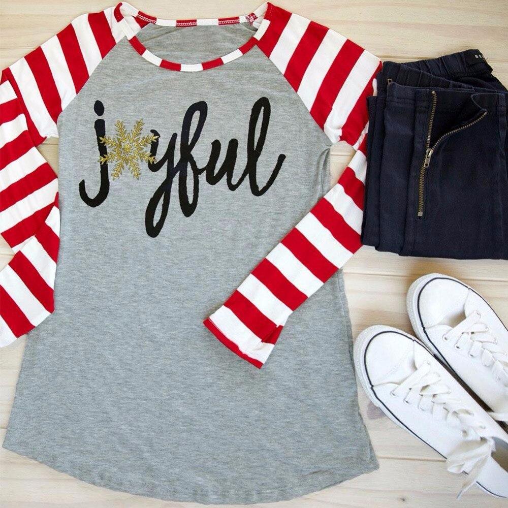 2017 Christmas Women T Shirt Snowflake Joyful Striped Letter Print Long Raglan Sleeve Baseball T-Shirt Casual Loose Ladies Tops