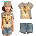 Humor Bear  Kids summer fashion clothes for girls Cartoon t shirt + short jeans suit grils clothes