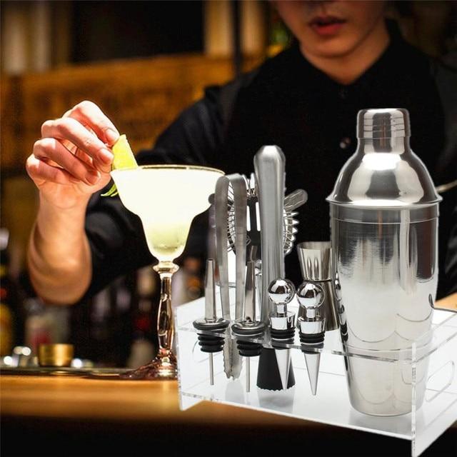 2018 High Quality Useful 10Pcs Cocktail Shaker Set With Acrylic Base Maker Mixer Martini Spirits Muddler Registered shipping