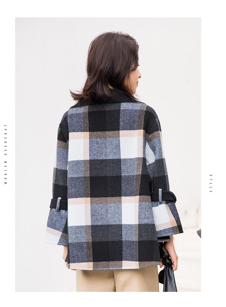 Manteaux Mode Femelle Ayunsue Femmes Manteau Wyq1771 Automne Angleterre Veste En Style Courte 2019 38050 De Plaid Printemps D'hiver Laine zz7qBwC
