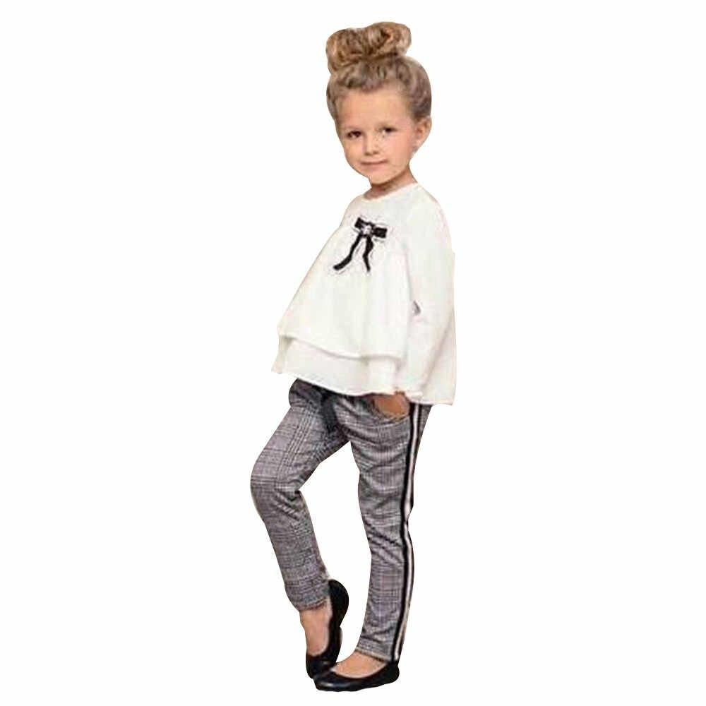Muqgew Fashion Bayi Anak Pakaian Gadis Pakaian Set 2 Pcs Pakaian Ruffle T Shirt Tops + Diperiksa Celana Pakaian Set roupas Menina # H2