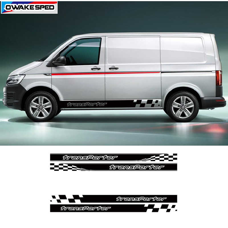 Racing Graphic Stripes Car Door Side Skirt Decor Sticker For