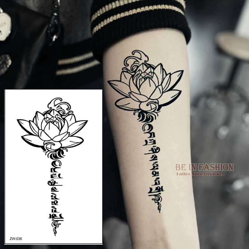 US $0 73 35% OFF|Buddha Lotus designs Temporary tattoo letters Sanskrit  Tibetan word tattoos back henna leg waist arm shoulder waterproof ZW036-in
