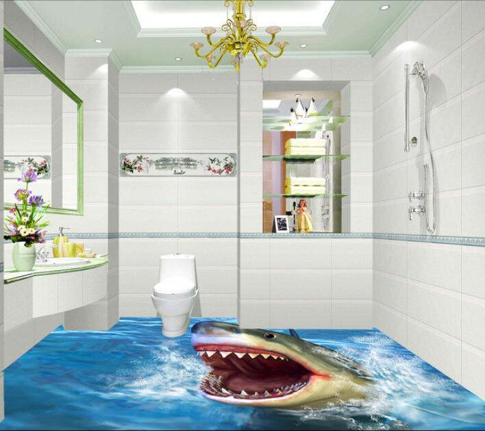 3 d pvc flooring custom waterproof self adhesion sharks hunting food 3 d bathroom flooring murals photo 3d wall murals wallpaper free shipping flooring cliff forest bathroom kitchen walkway 3d flooring custom living room self adhesive photo wallpaper