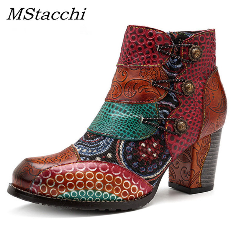 MStacchi 2019 Splicing Printed Ankle Boots For Women Shoes Woman Genuine Leather Retro Block High Heels Spring Fall Women Boots-in Ankle Boots from Shoes    1