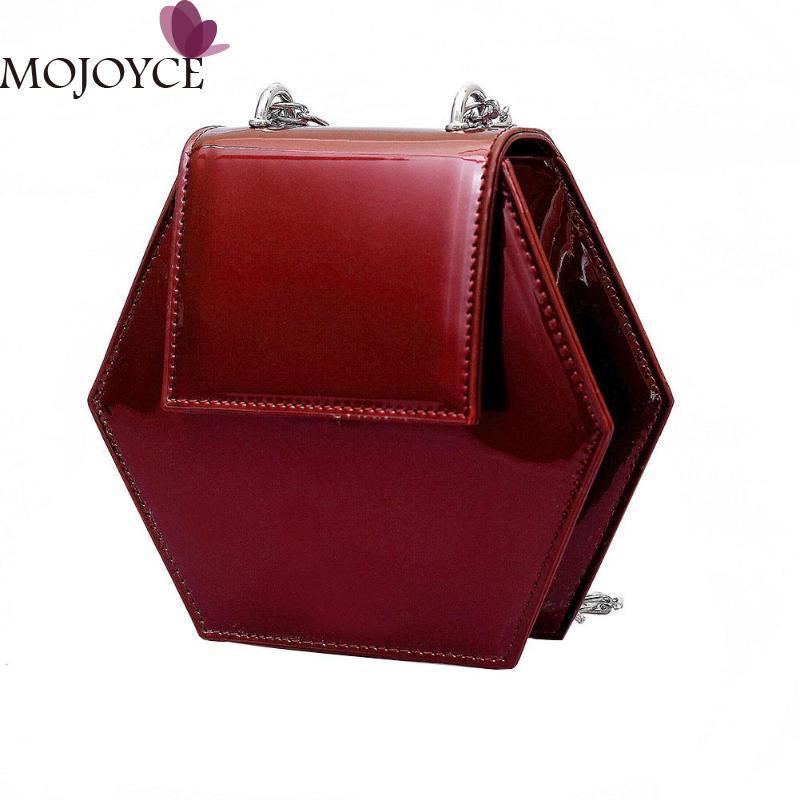 Women Flap Chain Shoulder Handbag Girl Hexagon Patent Leather Crossbody Bag 3 Colors Luxury Female Elegance Design Shopping Bag