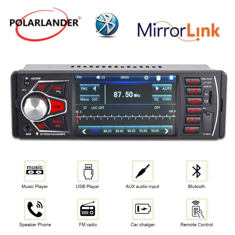 1 DIN lumières colorées FM TF USB SD MP5 radio lecteur de cassettes 4.1 pouces lien miroir Audio Autoradio Bluetooth 4.0 HD Autoradio