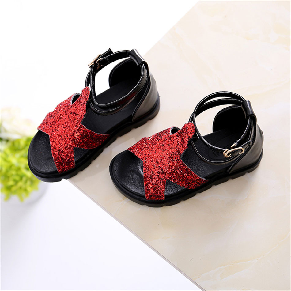 MSMAX Girls Sandals Pu Leather Glitter Buckle Strap Ankle Wrap Red Silver  Summer Children Shoes Kids Dress Wedding Shoes-in Sandals from Mother   Kids  on ... 53872f40956e