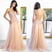 Modische Backless Appliques Lange Prom Kleider Vestido De Festa Longo Günstige New Abendkleid Partei Elegante 2015 Schnelles Verschiffen