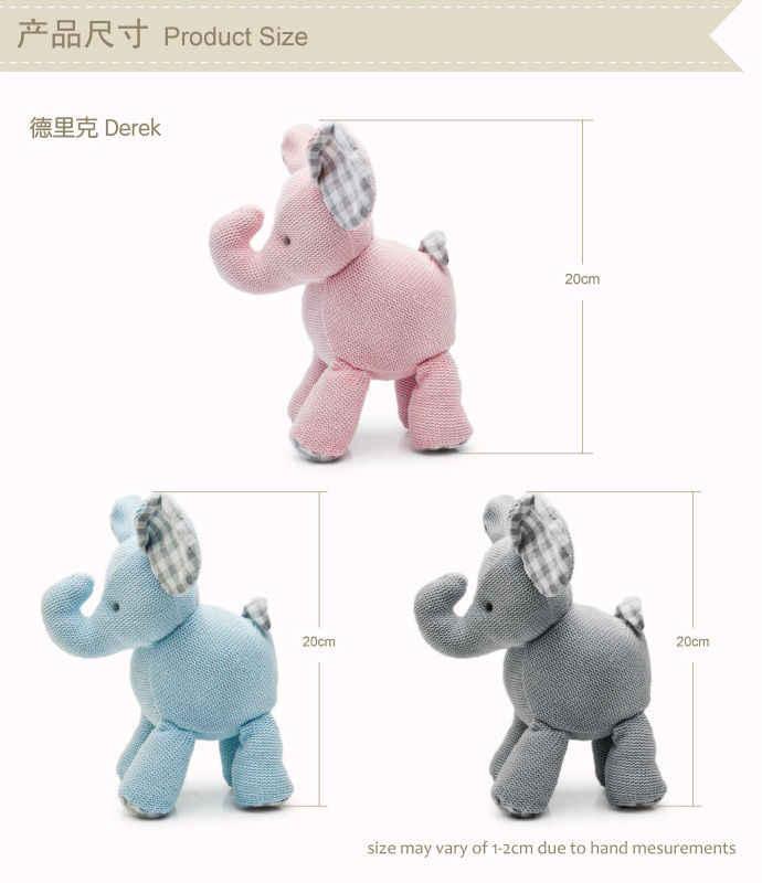 Luksusowe Multi tekstury słoń lalka materiałowa bezpieczna jakość niemowlę Nursey zabawki Handmade Crotchet pluszowe zwierzęta poduszki w kształcie lalki