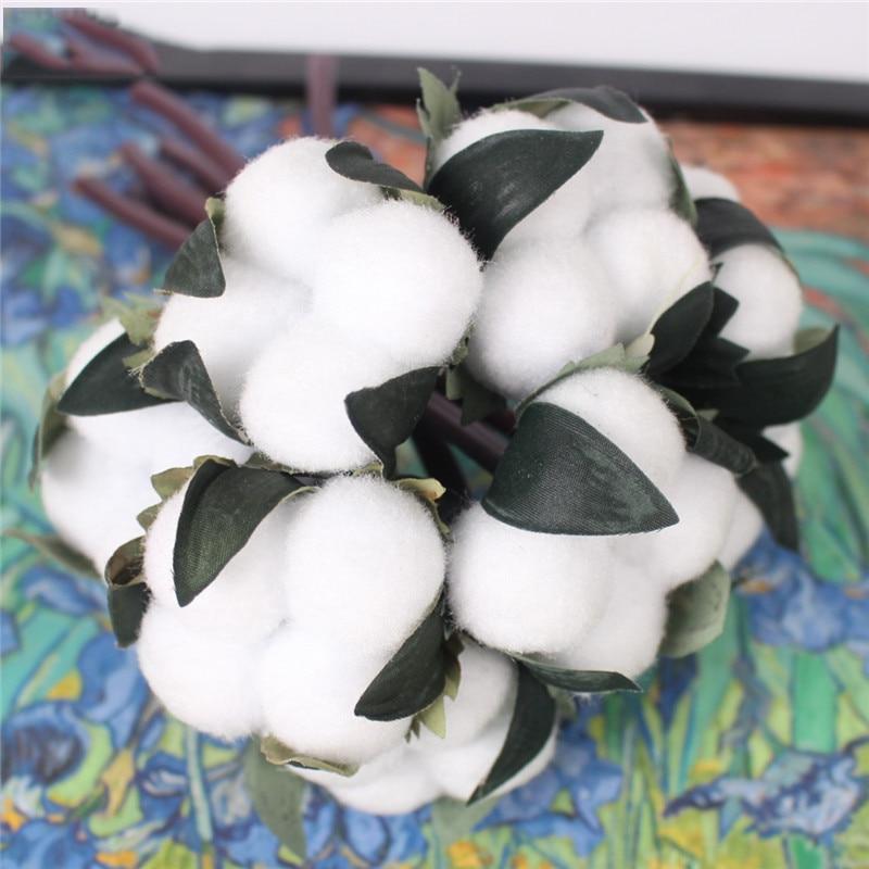 Cotton silk flower 10 heads art small fresh cotton artificial fake bouquet hand holding wedding bouquet birthday gift home decor