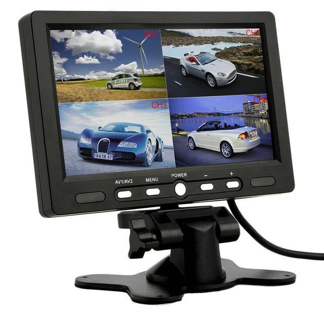 7 Inch 4 Split Quad TFT LCD Display DC 12V Car Rear View Headrest Monitor For DVD Reversing Camera hot selling