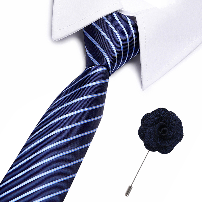 Men's Tie Formal S Vestidos Wedding Classic Stripe Grid 7.5cm Corbatas Fashion Shirt Dress Accessories Gift For Men Free Brooch
