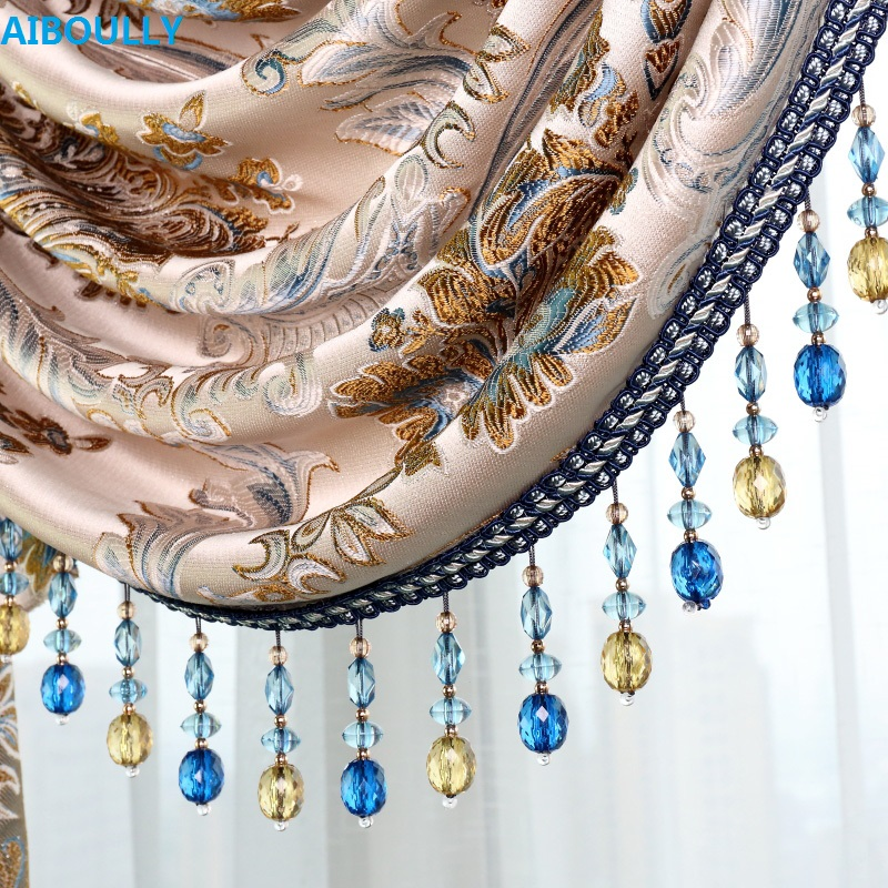 AIBOULLY Curtains Lace Trims Decoration Fringe Pendant Side Ear Curtain Beads Crystal L2144