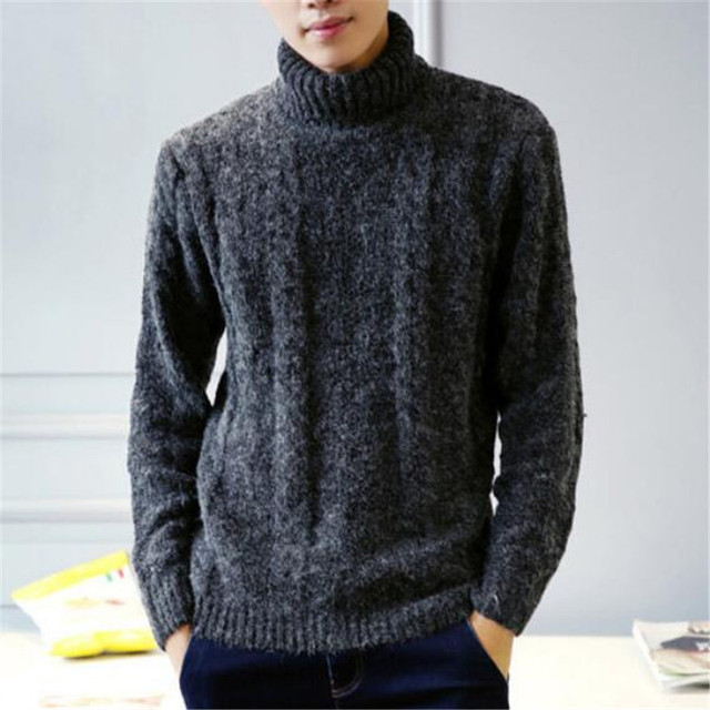 Turtleneck Sweater Men Long Sleeve Crose Wool Pullovers Homme ...