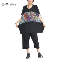 BelineRosa 2018 Women S Summer T Shirt Spain Style Printing Pattern Black Plus Size T Shirts