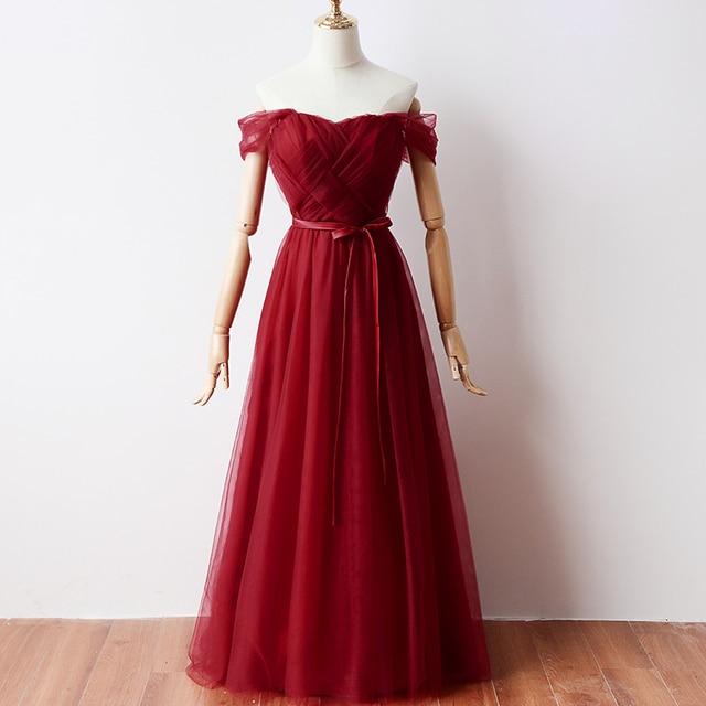 موضة أنيقة أحمر تول الزفاف حفلة موسيقية رسمية حفلة طويلة فستان سهرة Vestido De Festa Vestido Longo فساتين سهرة Vestidos