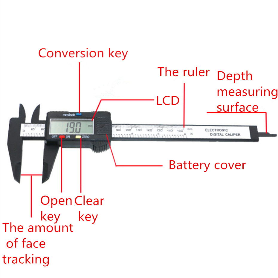 hight resolution of details about 150mm 6inch lcd digital electronic vernier caliper gauge micrometer ruler tool