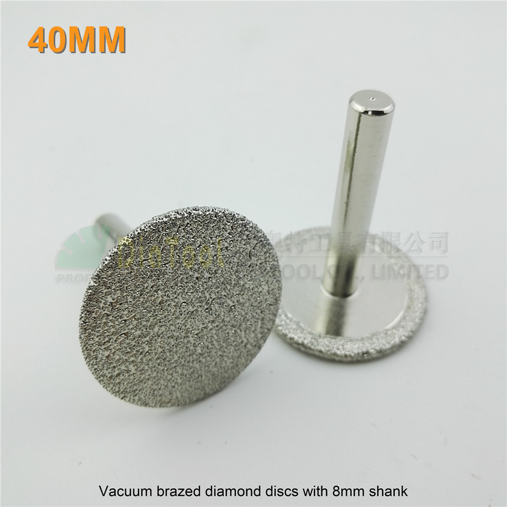 DIATOOL 2pcs Dia 40mm Mini Vacuum Brazed Diamond Discs With 8mm Shank Cutting Grinding Engraving Professional Diamond Saw Blade