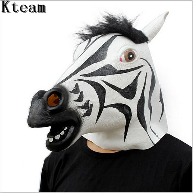 US $15 03 6% OFF|Top Quality Fun Halloween Mask Realistic Latex Horse Head  Interesting Party Masquerade Masks Silicone Face Zebra horse Mask Toy-in
