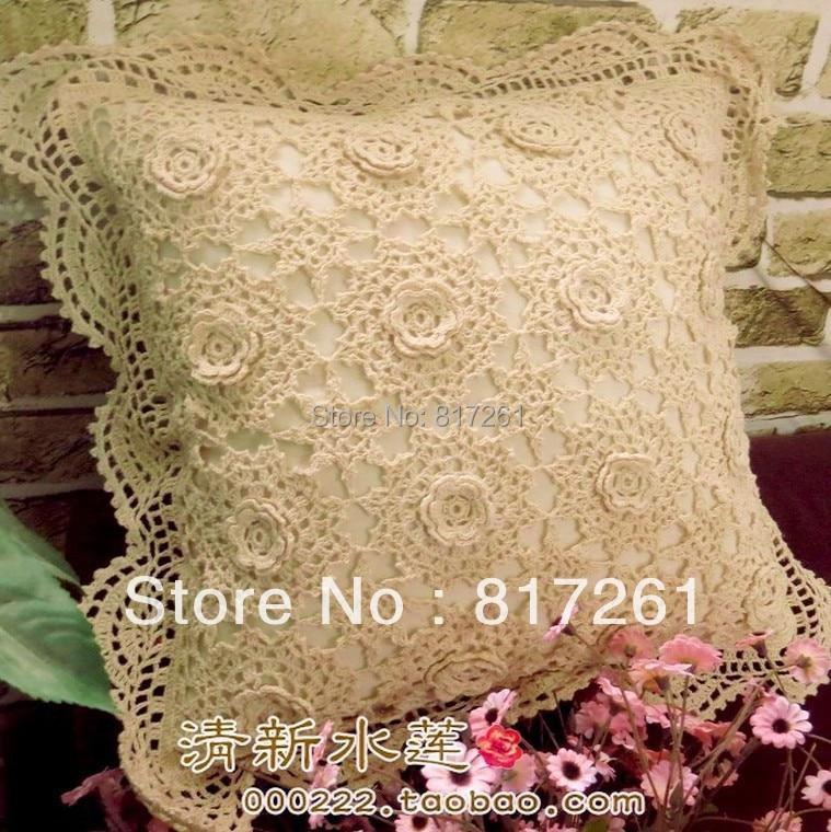 Envío libre 2014 nuevo cordón del ganchillo zakka algodón almohada ...
